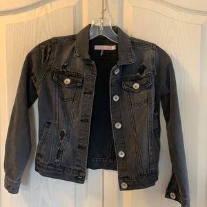 Ci Sono kids black distressed denim jacket